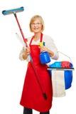 Dona de casa que faz a limpeza da primavera Imagens de Stock Royalty Free