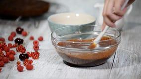 Dona de casa que faz o chocolate caseiro Ingredientes de mistura da mulher pelo batedor de ovos para cozinhar a padaria do bolo d video estoque