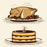 A dona de casa de sorriso retro cozinha o peru roasted na cozinha Fotos de Stock Royalty Free
