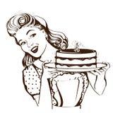 Dona de casa de sorriso retro que guarda o bolo grande em suas mãos Gra do vetor Fotografia de Stock Royalty Free