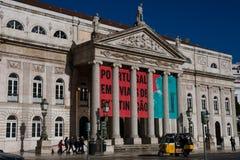 Dona Maria II Nationaal Theater Teatro Nacional Dona Maria II royalty-vrije stock afbeelding