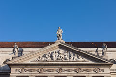 Dona Maria II National Theater Pediment in Lisbon Royalty Free Stock Photography