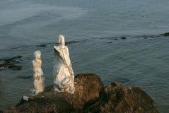 Dona Paula Statue bei Dona Paula, Goa, Indien Berühmter Bereich besonders frequentiert von den Touristen bei Sonnenuntergang lizenzfreie stockbilder