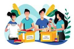 Donaci?n de la comida y de la ropa Ejemplo plano del vector Concepto social del cuidado y de la caridad El voluntario recoge dona ilustración del vector