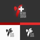Donación de sangre Logo Template. Diseño moderno del ejemplo del concepto del vector EPS10 Fotos de archivo libres de regalías