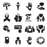 Donación y iconos del donante fijados Imagenes de archivo