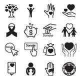 Donación y iconos del donante fijados Foto de archivo libre de regalías