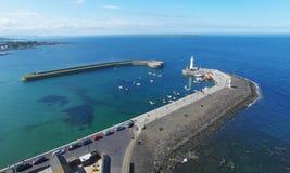 Donaghadee Co 北爱尔兰灯塔下来海岸警备队rnli 图库摄影