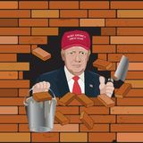 Donal Trump working on fixing crack on the bricked wall Stock Images