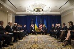 Donald atut Poroshenko na UN szczycie i Petro Zdjęcia Royalty Free
