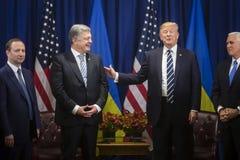 Donald atut Poroshenko na UN szczycie i Petro Obraz Stock