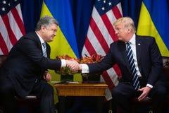 Donald atut Poroshenko na UN szczycie i Petro Obraz Royalty Free