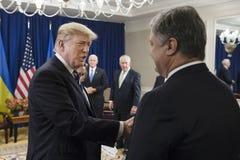 Donald atut Poroshenko na UN szczycie i Petro Zdjęcie Stock