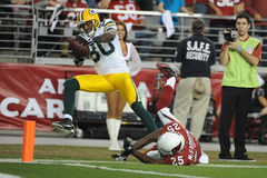 Donald Driver going for the touchdown. Stock Photography