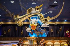 Donald Duck in a Disney store at the Magic Kingdom, Walt Disney World. Orlando, Florida: December 2, 2017: Donald Duck at a Disney store at The Magic Kingdom Royalty Free Stock Photography