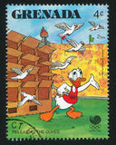 Donald Duck. GRENADA - CIRCA 1988: stamp printed by Grenada, shows Donald Duck, circa 1988 Stock Images