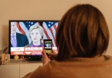 Donald J Notícia nova do presidente tevê dos EUA do trunfo Imagens de Stock