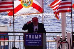 Donald J. Trump. Donald Trump at political rally in Jacksonville Florida. Saturday, October 24th 2015 in the Jacksonville Landing. And here we have Trump making Royalty Free Stock Image