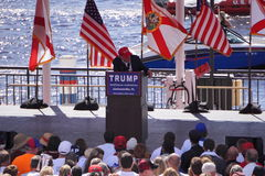 Donald J. Trump. Donald Trump at political rally in Jacksonville Florida. Saturday, October 24th 2015 in the Jacksonville Landing. In this shot he is throwing a Stock Photo