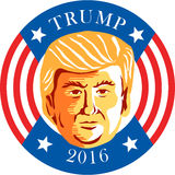 Donald J Trump President 2016. Illustration showing Republican Donald John Trump set inside circle with stars and stripes with words Trump 2016 president done in vector illustration