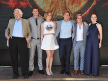 Donald Sutherland & Liam Hemsworth & Jennifer Lawrence & Sam Claflin & Josh Hutcherson & Julianne Moore Stock Photo