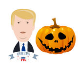 Donald Trump against halloween pumpkin Royalty Free Stock Photos