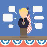 Donald Trump with american flag. Russia November. 08, 2016 Donald Trump with american flag and speech bubbles. New american president is Donald Trump royalty free illustration