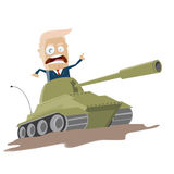 Donald trump attacking in a tank Royalty Free Stock Image
