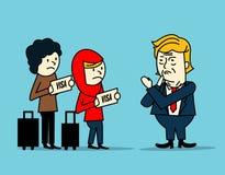 Donald Trump ban  muslim immigration people. Stock Photos
