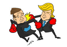 Donald Trump beating Ted Cruz. With boxing gloves Stock Photo
