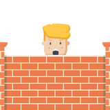 Donald Trump behind a brick Wall. Vector flat illustration of the President Stock Image