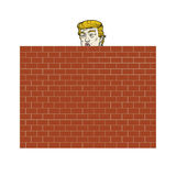 Donald Trump Behind A Brick Wall Vector Illustration. Cartoon Royalty Free Stock Photos