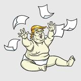 Donald Trump the Big Baby with Messy Papers. June 1, 2017 Stock Photo