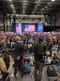 Donald Trump campaign rally press podium with crowd Royalty Free Stock Photography