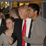 Donald Trump campaigns at Nevada Caucus polling station, Palos Verde Highschool, NV Stock Image