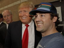 Donald Trump campaigns at Nevada Caucus polling station, Palos Verde Highschool, NV Stock Photos
