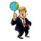 Donald Trump Cartoon Playing Globe Vektorkarikaturillustration Stockfotos
