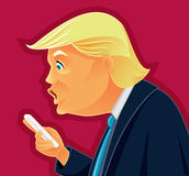 Donald Trump Checking his Phone Vector Caricature. Funny editorial illustration of the American president reading Twitter comments Royalty Free Stock Image