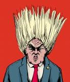 Donald Trump con el pelo que sopla hacia fuera