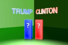 Donald Trump contra Hillary Clinton Eleição 2016 dos EUA Fotografia de Stock