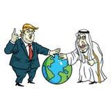 Donald Trump e rei Salman Laying Hands no globo cartoon 27 de maio de 2017 ilustração do vetor