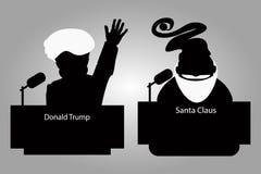 Donald Trump e Santa Claus de uma tribuna mostram em silhueta um ícone para a entrevista, mão acima conferência de imprensa do or ilustração royalty free