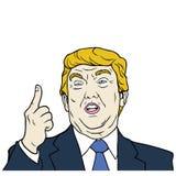 Donald Trump, el 45.o Presidente de los Estados Unidos, ejemplo plano del vector del diseño stock de ilustración
