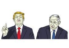 Donald Trump en Benjamin Netanyahu Vector de Karikatuurillustratie van het Portretbeeldverhaal 17 mei, 2018 vector illustratie
