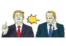 Donald Trump en Vladimir Putin Vectorportretillustratie 15 oktober, 2017 Royalty-vrije Stock Fotografie