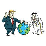 Donald Trump et le Roi Salman Laying Hands sur le globe cartoon 27 mai 2017 illustration de vecteur