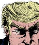 Donald Trump Face Close Up royaltyfri illustrationer