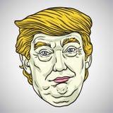 Donald Trump Face Vector beeldverhaalillustratie 30 oktober, 2017 Royalty-vrije Stock Afbeelding