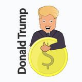 Donald Trump finger up. dollar oligarch. vector illustration eps 10. On light it is easy to separate a background. Royalty Free Stock Image