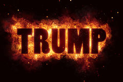 Donald trump fire burn flame text is explode. Explosion Stock Photo